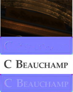 "The address plaque as it appears in the game, the texture file 'plaquedirty_normal.tga', ""C Beachaump"" set in Palatino Linotype, and the latter two combined."
