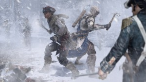 Aveline and Connor preparing to fight a group of soldiers