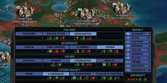 In Sid Meier's Alpha Centauri, the player chooses her faction's ideological stances on a number of issues, with each choice having both positive and negative effects within the game.