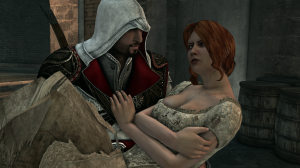 Ezio carrying Caterina out of Castel Sant'Angelo