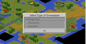 In early Civ games, like Civilization II, a nation's politics and ideologies are all bound up in the player's choice of government.