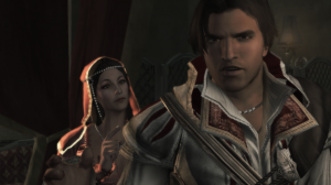 Paola interacting with a young Ezio Auditore