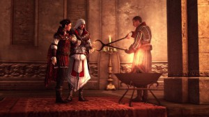 Ezio and Machiavelli inducting Claudia into the Asassins