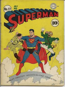 Superman, holding Hitler and the Japanese emperor