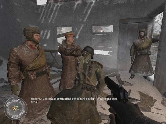 Russian troops discuss their next steps after beating the Nazi soldier (center)