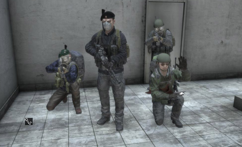 Was looting an airstrip and ran into these four. Three were looting the second floor of a building while the fourth guarded the entrance. Once I convinced them I was harmless, we all chatted about the game for a few minutes. I asked if I could take a group picture and they agreed. Then they wished me luck and ran off.