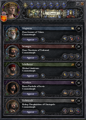 Rather than acquiring technologies through spending resources, the development of new techs in Crusader Kings II depends on wisely choosing your councilors.