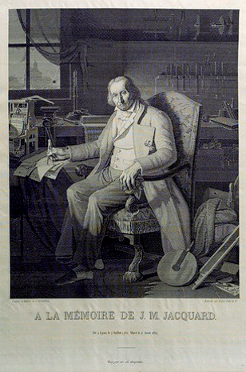 A portrait of Joseph Marie Jacquard.  Woven in cloth on a Jacquard Loom.