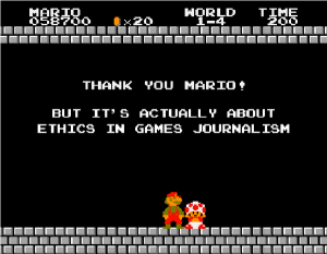 "(Image Caption, An example from the ""Actually it's about video games journalism meme.)"