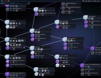 Although Beyond Earth's Tech Web is visually distinctive, its topology differs little from the Civ V tech tree.