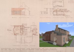 A player's reconstruction of 2-3 The Garth, Bridlington from Johnson's architectural plan.