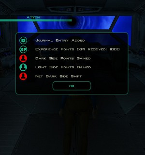The ethical systems in most Star Wars games are very straightforward.  Every action is good or bad and the player receives instant feedback.