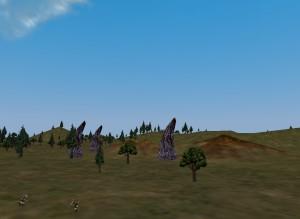 The spires marking Splitpaw in South Karana, Everquest