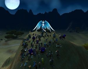WoW players gathered at the spirit of Koiter at the Shrine of the Fallen Warrior