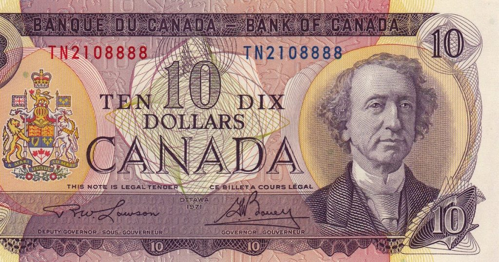 Canada 10 Dollar Note 1971 Sir John A. Macdonald