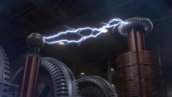 A screenshot of the opening movie from Civilization V, showing a large Tesla coil