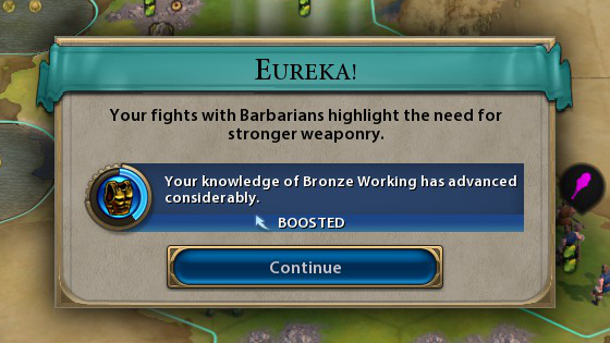 A screenshot of Civilization VI, showing the Eureka Moment boosting the development of Bronze Working