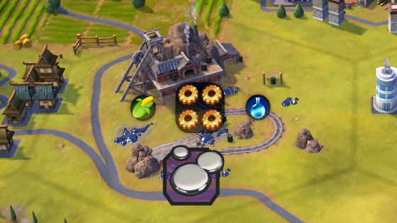 A screenshot from Civilization VI, showing a mercury mine producing production and science.