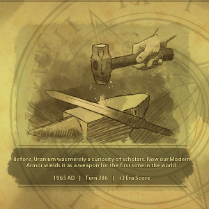 A screenshot from Civilization VI, chronicling the development of Uranium from scientific object to military technology.