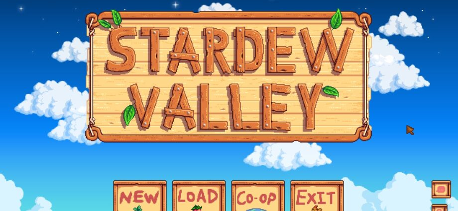 The Title Screen from the game Stardew Valley