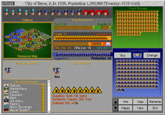 Screenshot from Civilization II, showing the city screen.  Pollution is indicated by yellow poison signs.