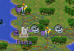 Screenshot from Civilization II showing two engineers cleaning up pollution near a city.