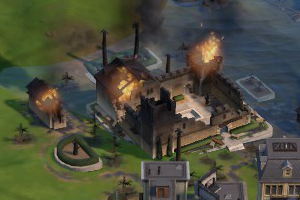 Screenshot from Civilization VI: Gathering Storm showing a coastal district that has been flooded due to global warming.