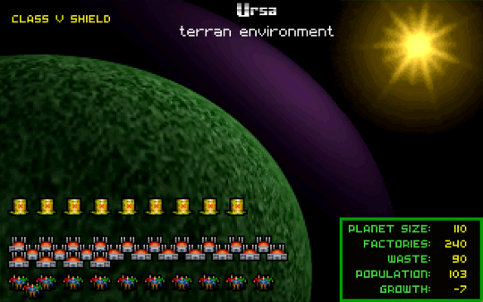Screenshot of Master of Orion showing the buildup of pollution on the planet Ursa.
