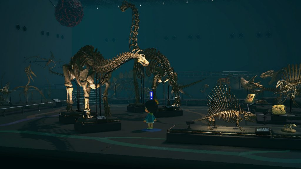 A screenshot from Animal Crossing New Horizon. A Villager is in the Fossil exhibit in the Museum.