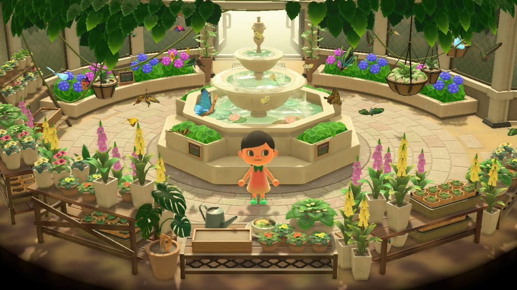 A screenshot from Animal Crossing New Horizon. A Villager stands in the Butterfly Exhibit